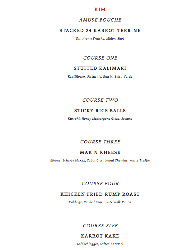 Amazing Valentine Day Menu Theme around Kim Kardashian and Kanye West