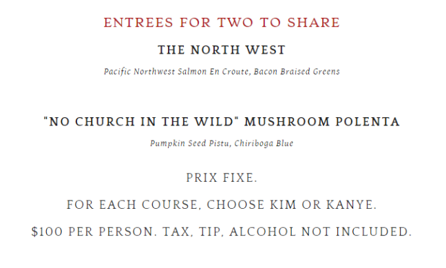 To top off The Kim and Kanye menu